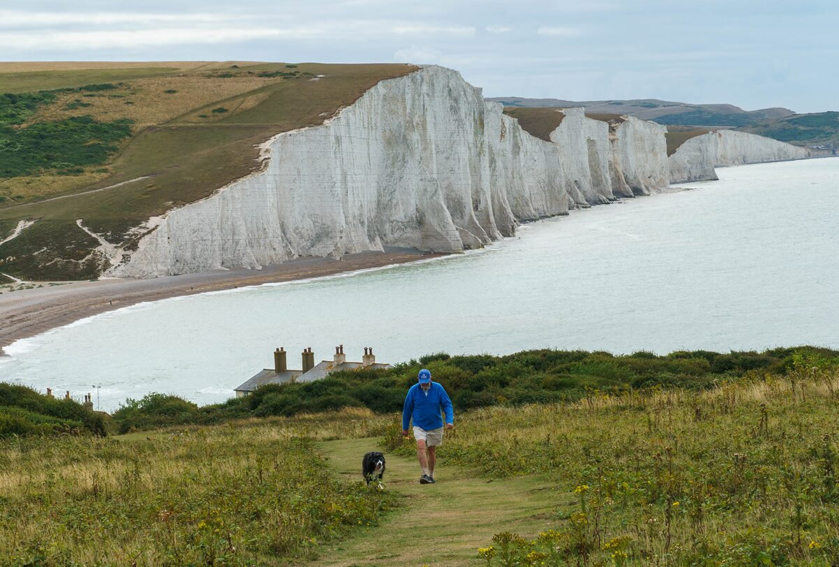 man walking his dog in front of seven sisters